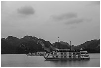 Two tour boats at dawn. Halong Bay, Vietnam (black and white)