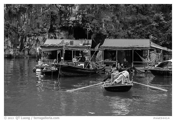 Floating houses, Vung Vieng village. Halong Bay, Vietnam (black and white)