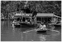 Floating houses, Vung Vieng village. Halong Bay, Vietnam ( black and white)