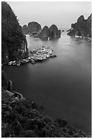 View over bay and boats from Surprise Cave exit. Halong Bay, Vietnam ( black and white)