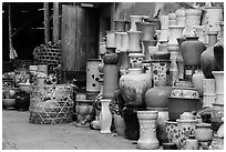 Large vases for sale. Bat Trang, Vietnam (black and white)