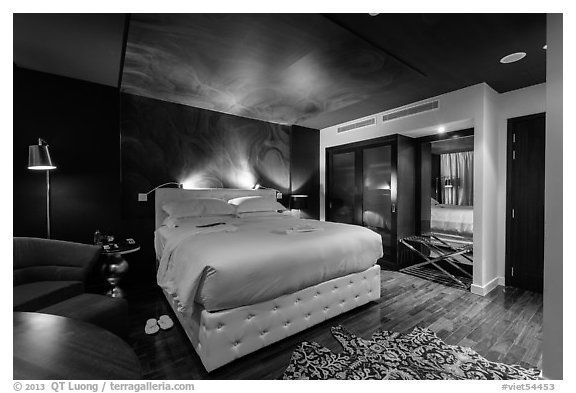 Hotel de l'Opera guest room. Hanoi, Vietnam (black and white)