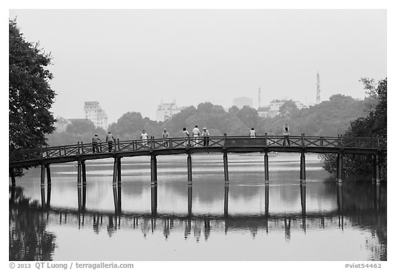 The Huc Bridge in early morning, Hoang Kiem Lake. Hanoi, Vietnam (black and white)