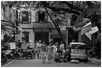 Early morning food shopping, old quarter. Hanoi, Vietnam ( black and white)