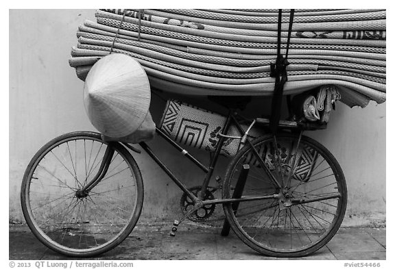 Bicycle loaded with mats, old quarter. Hanoi, Vietnam (black and white)