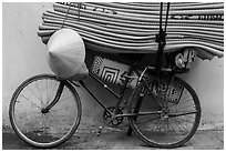 Bicycle loaded with mats, old quarter. Hanoi, Vietnam ( black and white)