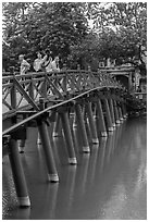 The Huc (morning sunlight) Bridge. Hanoi, Vietnam (black and white)