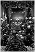 Tran Hung Dao statue in Ngoc Son Temple. Hanoi, Vietnam (black and white)