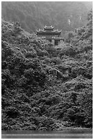 Temple perched on lush hill, Trang An. Ninh Binh,  Vietnam (black and white)