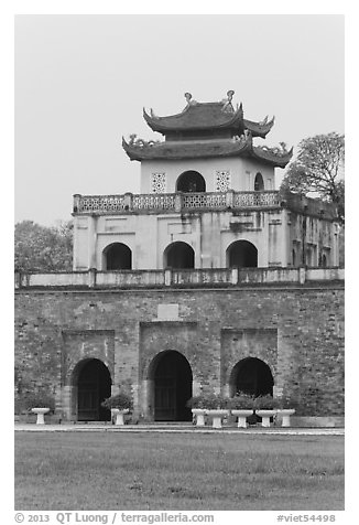 Doan Mon Gate, Hanoi Citadel. Hanoi, Vietnam (black and white)