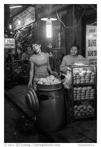 Dumpling vendors at night, old quarter. Hanoi, Vietnam (black and white)