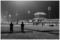 Ba Dinh Square and Ho Chi Minh Mausoleum at night. Hanoi, Vietnam (black and white)