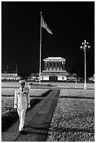 Officer walking in front of Ho Chi Minh Mausoleum. Hanoi, Vietnam (black and white)