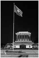 Vietnamese flag flying in front of Ho Chi Minh Mausoleum. Hanoi, Vietnam (black and white)