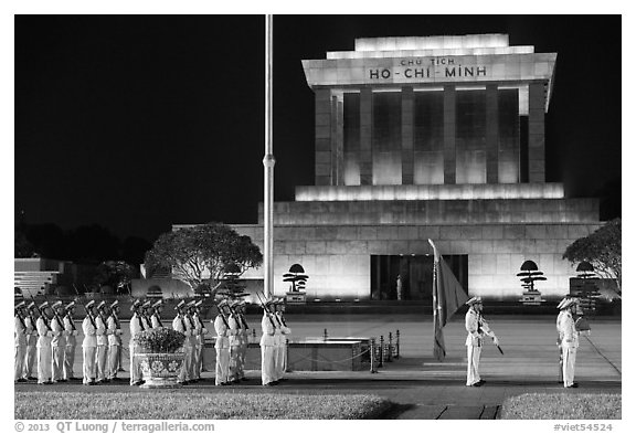 White uniformed guards in front of Ho Chi Minh Mausoleum. Hanoi, Vietnam (black and white)