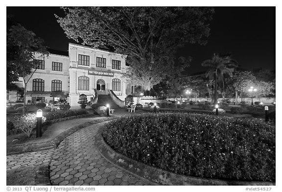 Public garden and French-area building at night. Hanoi, Vietnam (black and white)