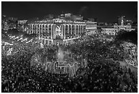 New year eve, city hall plaza with crowds. Ho Chi Minh City, Vietnam ( black and white)