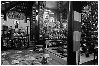 Inside Phung Son Pagoda, district 11. Ho Chi Minh City, Vietnam ( black and white)