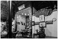 Wall with various pictures in Giac Lam Pagoda, Tan Binh district. Ho Chi Minh City, Vietnam ( black and white)