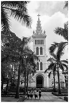 Cho Quan Church and students walking, district 5. Ho Chi Minh City, Vietnam (black and white)