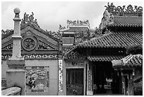 Roof and wall details, Le Van Duyet temple, Binh Thanh district. Ho Chi Minh City, Vietnam ( black and white)