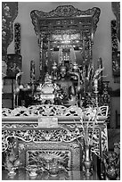 Le Van Duyet altar, Binh Thanh district. Ho Chi Minh City, Vietnam (black and white)
