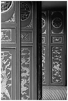 Red doors, Le Van Duyet temple, Binh Thanh district. Ho Chi Minh City, Vietnam (black and white)