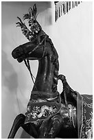 Wooden horse, Le Van Duyet temple, Binh Thanh district. Ho Chi Minh City, Vietnam ( black and white)