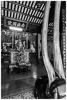 Horns and altar, Le Van Duyet temple, Binh Thanh district. Ho Chi Minh City, Vietnam (black and white)