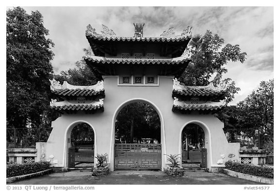 Le Van Duyet temple gate, Binh Thanh district. Ho Chi Minh City, Vietnam (black and white)