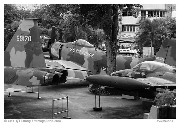 Fighter jets, War Remnants Museum, district 3. Ho Chi Minh City, Vietnam (black and white)