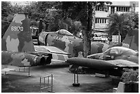 Fighter jets, War Remnants Museum, district 3. Ho Chi Minh City, Vietnam ( black and white)