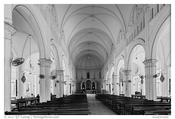 Cho Quan Church interior, district 5. Ho Chi Minh City, Vietnam (black and white)