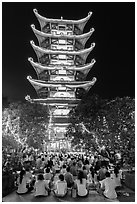 Night Religious service, Quoc Tu Pagoda, district 10. Ho Chi Minh City, Vietnam ( black and white)