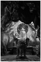 Buddha in grotto, Quoc Tu Pagoda, district 10. Ho Chi Minh City, Vietnam (black and white)