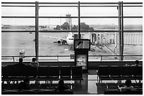 Waiting room, Tan Son Nhat airport, Tan Binh district. Ho Chi Minh City, Vietnam (black and white)