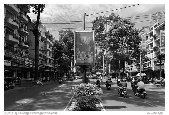 Leafy boulevard, district 5. Ho Chi Minh City, Vietnam (black and white)