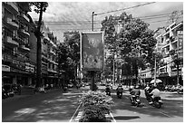 Leafy boulevard, district 5. Ho Chi Minh City, Vietnam ( black and white)