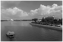 Dragon House and Ben Nghe Channel. Ho Chi Minh City, Vietnam (black and white)