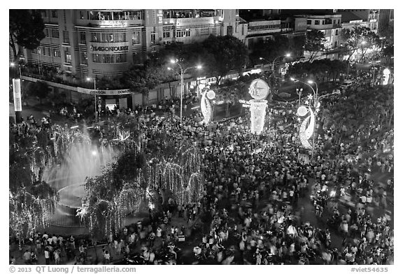 Holiday crowds from above. Ho Chi Minh City, Vietnam (black and white)
