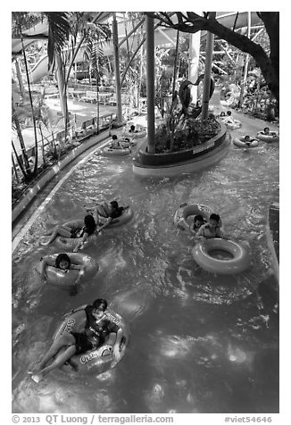 Inner tubing, Dam Sen Water Park, district 11. Ho Chi Minh City, Vietnam (black and white)