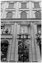 Department store with holiday decorations. Ho Chi Minh City, Vietnam ( black and white)