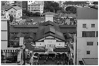 Ben Thanh covered market from above. Ho Chi Minh City, Vietnam ( black and white)