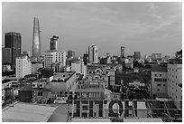Rooftop view of Saigon skyline. Ho Chi Minh City, Vietnam ( black and white)