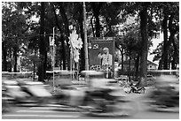 Traffic blur. Ho Chi Minh City, Vietnam (black and white)