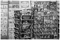 Postcard rack. Ho Chi Minh City, Vietnam (black and white)
