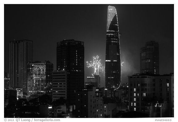 New Year fireworks. Ho Chi Minh City, Vietnam (black and white)