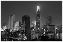 Saigon skyline and fireworks. Ho Chi Minh City, Vietnam (black and white)