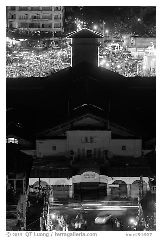 Ben Thank market from above at night. Ho Chi Minh City, Vietnam (black and white)