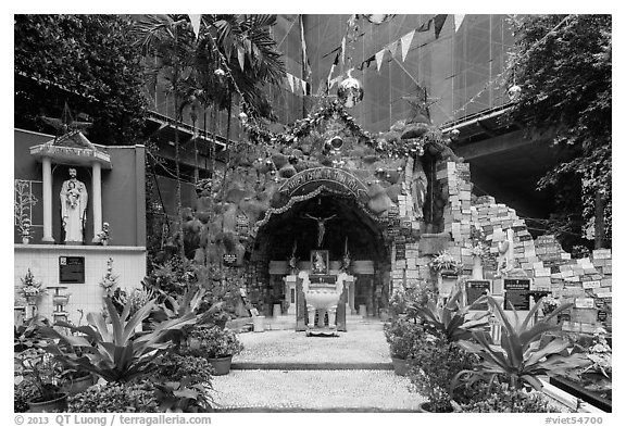 Grotto near Jeanne D'Arc Church, district 5. Ho Chi Minh City, Vietnam (black and white)
